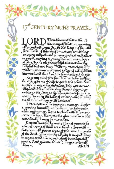 17th century nuns prayer