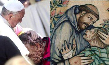 Francis meets leper
