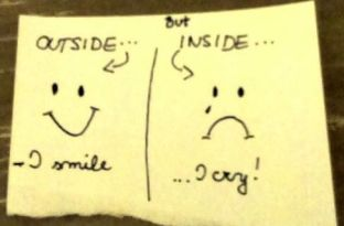 outside smile inside cry