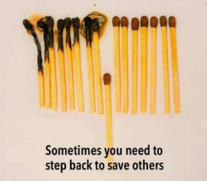 stepping back to save others
