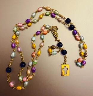 shiny gold rosary